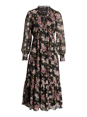 EVER NEW floral long sleeve midi dress