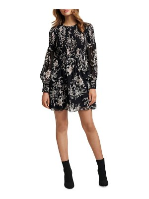 EVER NEW Floral Smocked Long-Sleeve Sheer Mini Dress