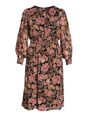 EVER NEW lucia floral print long sleeve midi dress
