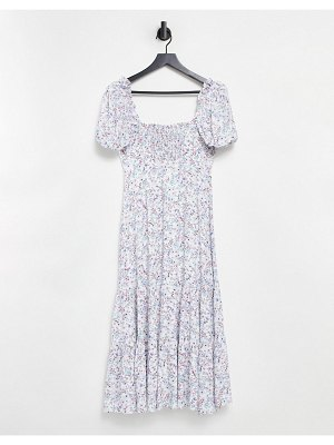 EVER NEW pintuck puff sleeve tiered midi dress in ivory floral-multi