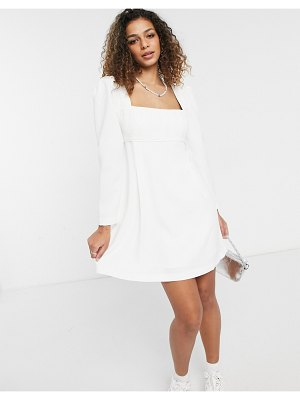 EVER NEW puff shoulder square neck mini dress in ivory-white
