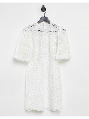 EVER NEW puff sleeve high neck lace mini shift dress in ivory-white