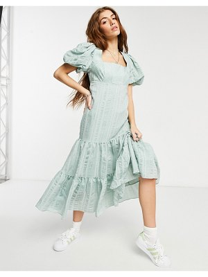 EVER NEW puff sleeve square neck midaxi smock dress with bow back in soft mint-green