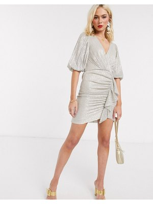 EVER NEW ruched mini dress in gold metallic