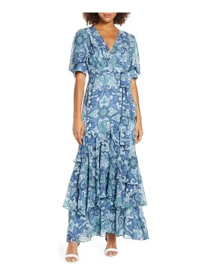 EVER NEW tiered faux wrap maxi dress