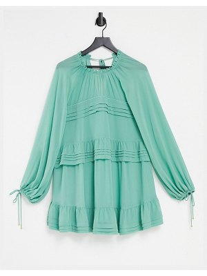 EVER NEW tiered lantern sleeve mini dress with frill detail in sage green