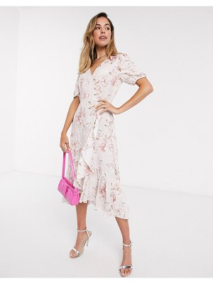 EVER NEW wrap tie midi dress in ivory floral print-white