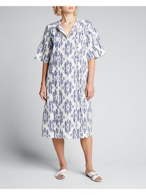 Evi Grintela Floral-Embroidered Pintuck Tie-Strap Midi Dress