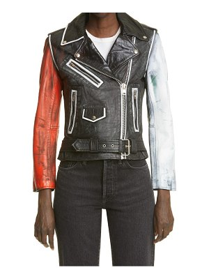 Exhibit69 pride one of a kind reworked leather jacket