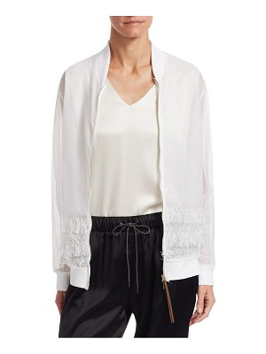 Fabiana Filippi fringe trim cotton tulle bomber jacket