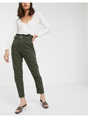 FAE belted paperbag waist mom jeans in khaki-green