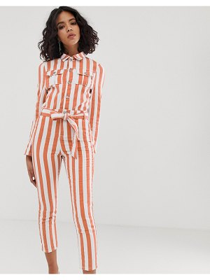 FAE fitted stripe boilersuit-copper