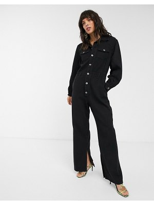 FAE relaxed button front boilersuit-black