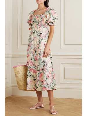 FAITHFULL THE BRAND de christin shirred floral-print linen midi dress