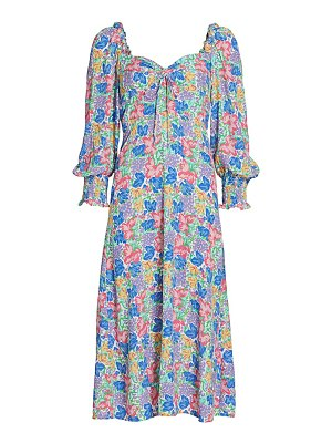 FAITHFULL THE BRAND mathilde balloon-sleeve floral midi dress