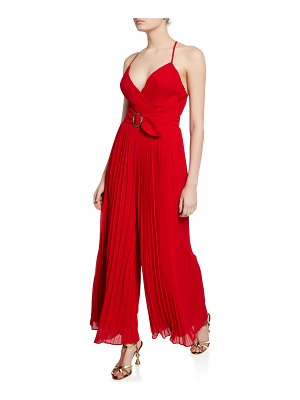 Fame and Partners O-Ring Pleated Wide-Leg Halter Jumpsuit