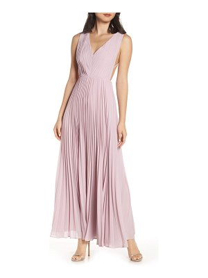 Fame and Partners strappy back pleated chiffon evening dress