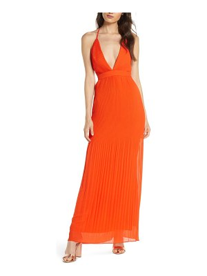 Fame and Partners the caspian plunge neck plisse chiffon gown