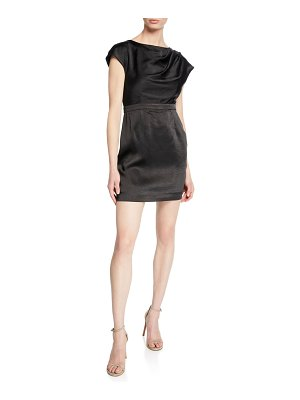 Fame and Partners The Lincoln High-Neck Cap-Sleeve Mini Satin Dress