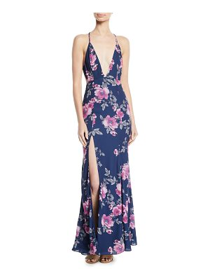 Fame and Partners The Rowen Strappy V-Neck Dress in Floral Print
