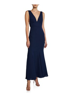 Fame and Partners V-Neck Sleeveless Tie-Back Gown