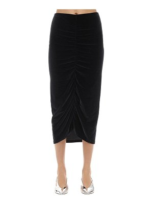 FANTABODY Draped velvet midi skirt