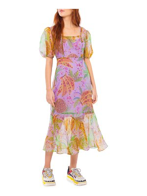 Farm Rio Mixed Fruits Floral Organza Midi Dress