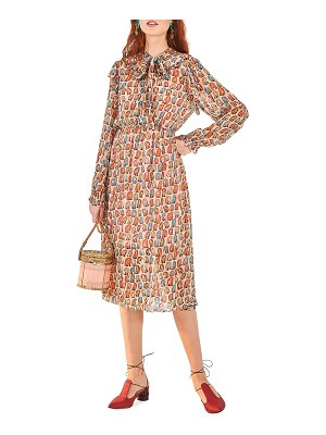Farm Rio Monkey-Print Ruffle Midi Dress