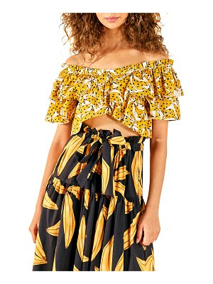 Farm Rio Spotted Bananas Printed Cross-Front Top