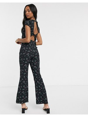 Fashion Union backless jumpsuit in floral print-black