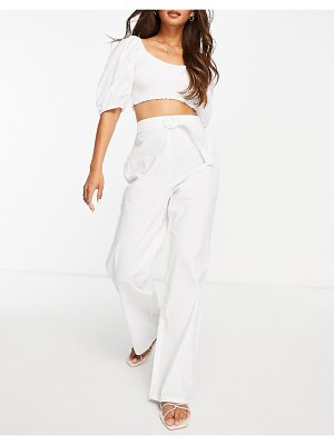 Fashion Union beach pants with belt detail set in white