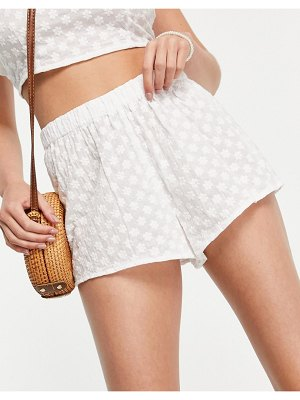 Fashion Union broderie anglaise beach shorts in white