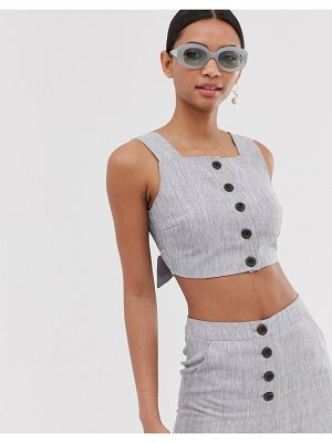 Fashion Union button front crop top two-piece-gray