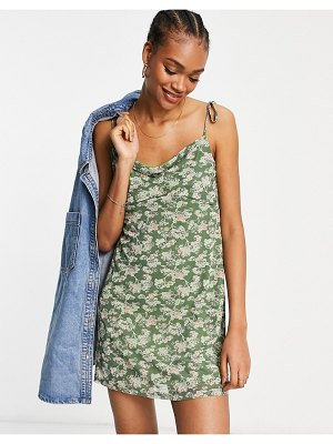 Fashion Union cami mini dress with cowl neck in floral mesh-green