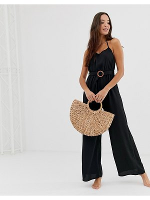 Fashion Union coriander beach jumpsuit in black