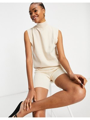 Fashion Union knit roll neck sleeveless top with detail shoulders-white