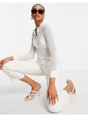 Fashion Union knit sheer crochet sweater with natural buttons-white