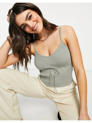 Fashion Union knitted cami crop top in rib with bow detail set-green
