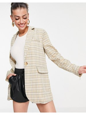 Fashion Union long line relaxed blazer in vintage check