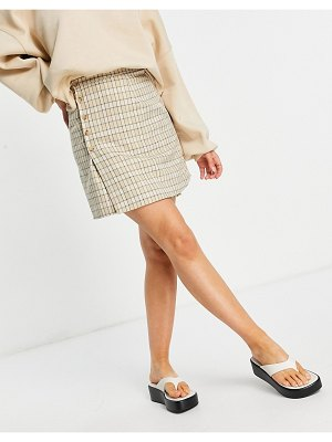 Fashion Union mini a-line skirt with buttons in vintage check sets-multi