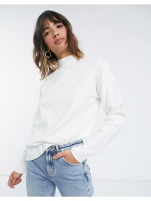 Fashion Union relaxed sweater in diamond knit co-ord-cream