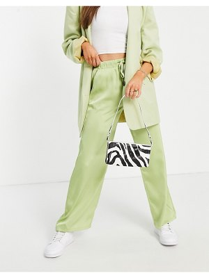 Fashion Union relaxed wide leg pants in lime satin