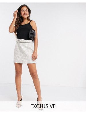Fashion Union tweed skirt with belt two-piece-beige