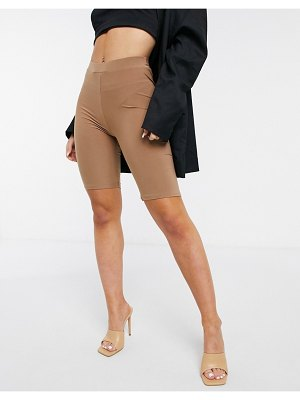 Fashionkilla body-conscious short with ruched bum detail in camel-neutral
