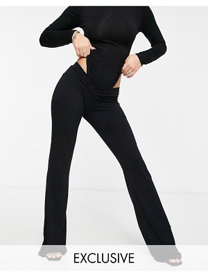 Fashionkilla exclusive v front flare pants in black