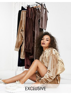 Fashionkilla exclusive velvet oversized hoodie dress with drawstring detail in camel-tan