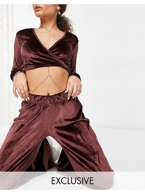 Fashionkilla exclusive velvet wide leg pants set in chocolate-brown
