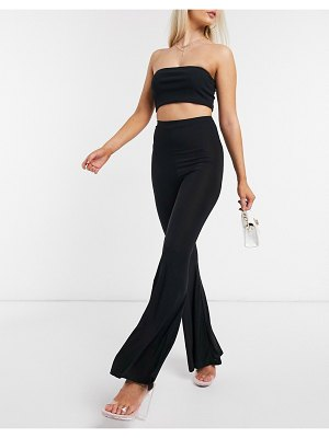 Fashionkilla flare pants with ruched butt detail in black
