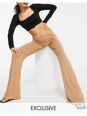 Fashionkilla kick flare pants with hip strap in camel-tan