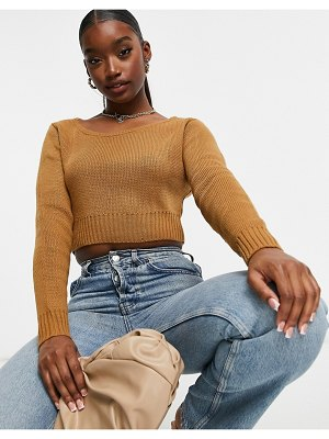 Fashionkilla knit slouchy cropped sweater in camel-tan